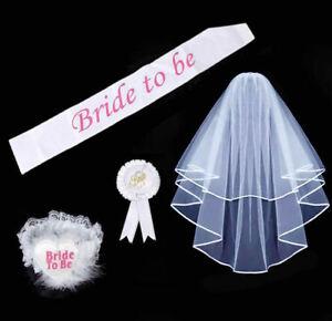 Bride-To-Be-SET-Rosette-Badge-Sash-Garter-Veil-Hen-Night-Bachelorette-Party-Do