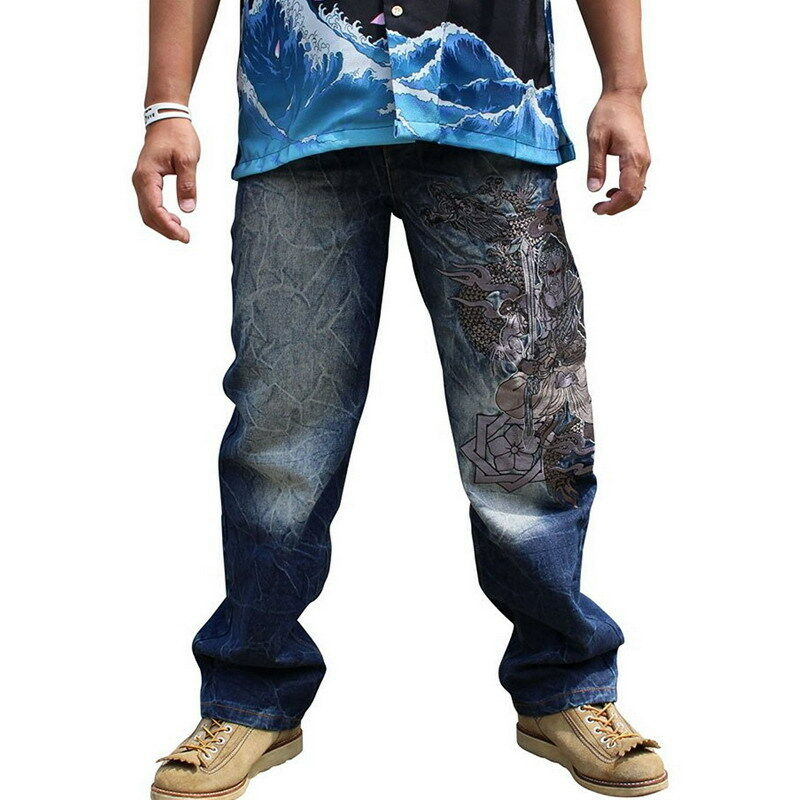 Mens Jeans Japanese Pattern Embroidered Straight Denim Tattoo Acala Buddha God