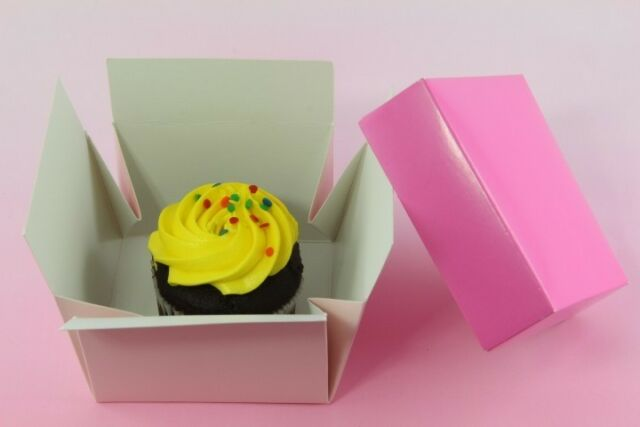 30x, Bakery Box Gift Boxes Easy Open, Cupcake Pastry Muffin Treats, Pink 3 1/2''