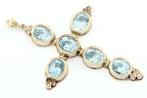15ct-Aquamarin-Diamant-Gold-Kreuz-750-18K-antik-12-Diamanten-27-43g-Laenge-81-7mm
