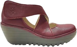 4fd6cb83c78a Image is loading Fly-london-Yogo-Red-Womens-Leather-Cross-Bar-