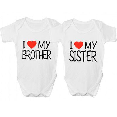 Bene Novita 'amo Mia Sorella/amo Mio Fratello Babygrow-divertente Abbigliamento Bambini- Forte Resistenza Al Calore E All'Usura Dura