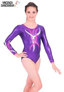 21409b2d9 Deluxe Metallic Purple with Pink   Silver Flame Gymnastic Gym Dance ...