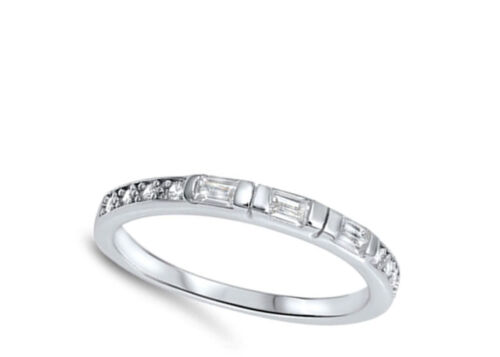 Stackable White CZ Classic Ring New .925 Sterling Silver Wedding Band Sizes 5-10
