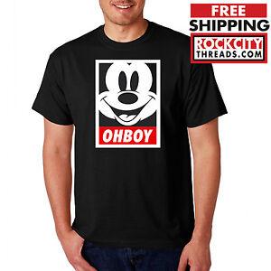 ce1b54ac OHBOY MICKEY MOUSE T-SHIRT Black Obey Parody Oh Boy Graffiti Shirt ...