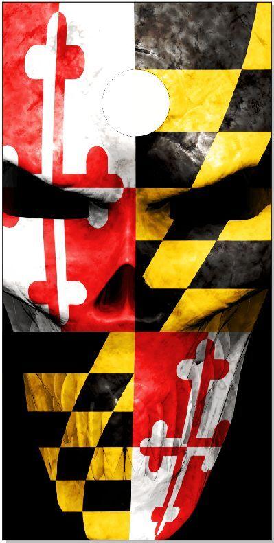 Maryland Flag Skull LAMINATED Cornhole Wrap Bag Toss Skin Decal
