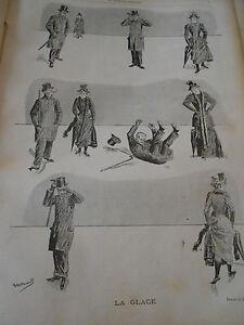 1893 Original Vintage Print La Glace Glissade Chute
