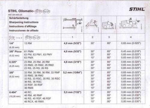 "BLADE FOR STIHL 020T 12/"" 1.3mm 3//8/"" .050/"" GENUINE STIHL 63PM3 CHAINSAW CHAIN"