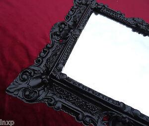 Arte Y Antigüedades Espejos Espejo De Pared 45x38cm Antiguo Barroco Réplicas Rectangular En Negro 345 88