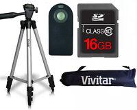 50 Vivitar Tripod + Remote Control +16gb Sd Card For Canon Eos Rebel T3i T5i