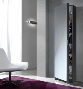 Angelo-Tall-Slim-Shoe-Storage-Cabinet-Mirrored-Door-Grey-Ash