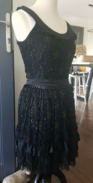Alannah Hill Black Lace beaded Dress Size 8