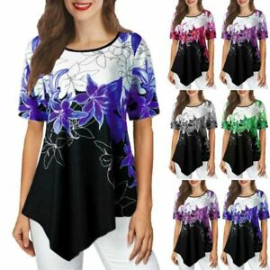 Jumper-Fashion-Blouse-Short-Sleeve-Tops-Floral-Womens-Loose-New-Elegant-Top