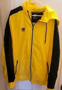 Umbro Men's 2XL XXL Full Zip Windbreaker Track Rain Nylon Jacket Yellow Black