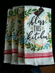 Dish Towels Fl Bless This Kitchen