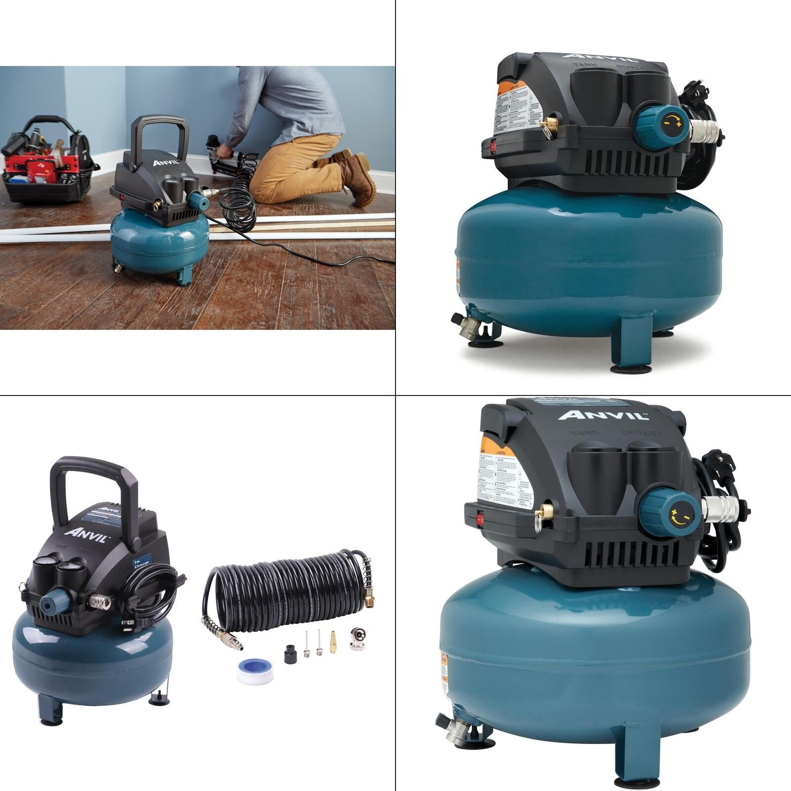 Portable Electric 2G Pancake Air Compressor with 7-Pieces Accessories Kit