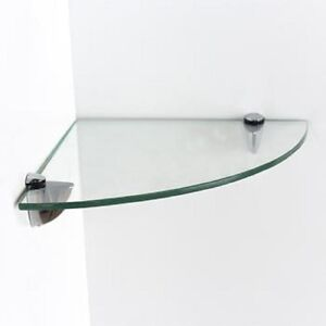 Clear Glass Corner Bathroom Toilet Shelf Wall Mounted 25cm X 25cm Glass Kitchen Ebay