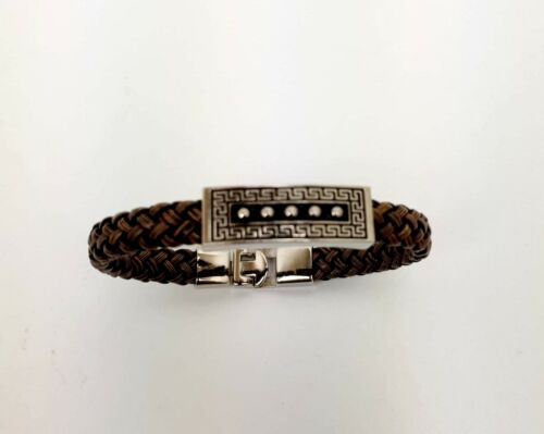 New Mens Twisted Knot Braided Wristband Bracelet Stainless Steel Magnetic Clasp