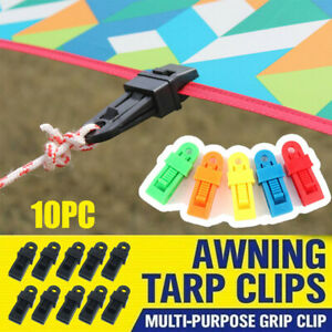 10x Camping Tent Added Pull Point Windproof Fixed Tarp Linoleum Tent Clips Canva