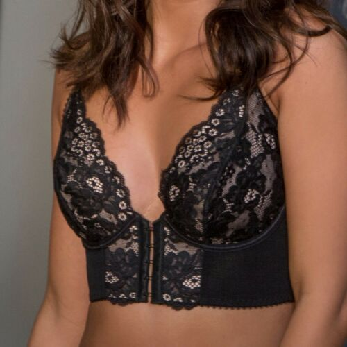 Black//Pink 11601 Pour Moi Amour Accent Front Fastening Underwired Bralette