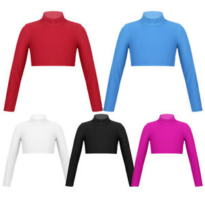 Kid-Girl-Turtleneck-Long-Sleeve-Crop-Top-Ballet-Gym-Dancewear-Shirt-Blouse-Tops