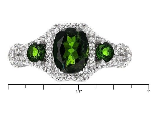 Natural  Russian Chrome Diopside Past Presents Future 3 Stones white Topaz Ring
