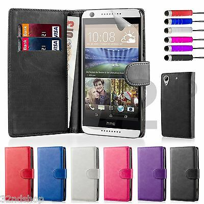 32nd Book Wallet PU Leather Case Cover HTC Desire 626 Screen Protector & Stylus