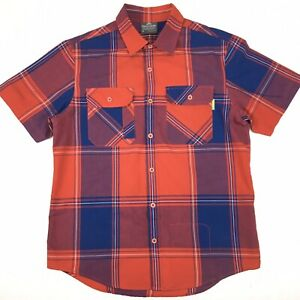 Kathmandu-Mens-Slim-Fit-Organic-Cotton-Blend-Short-Sleeve-Button-Up-Shirt-Size-M
