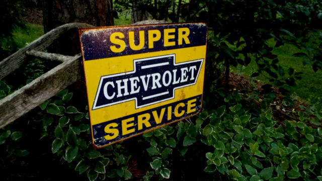 Super Chevy Service Tin Sign Vintage Rustic Garage Metal Wall Decor ...