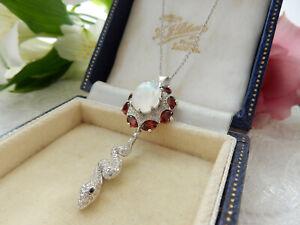 Moonstone-Garnet-Snake-Pendant-Necklace-Sterling-Silver-Fine-Jewelery