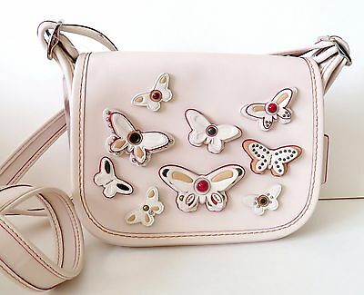 New Coach Patricia Leather Saddle Bag 18 Butterfly Applique Chalk/Silver F59360