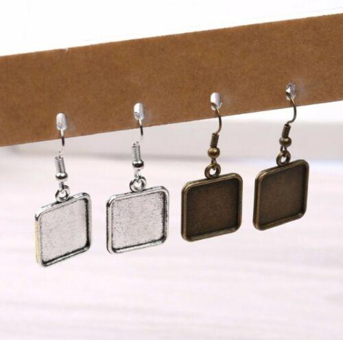 15mm Square Blank Cabochon Earring Settings Findings Hooks Bezel Craft Clasp UK
