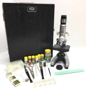 Vintage-1973-Tasco-Deluxe-Microscope-Model-962-Zoom-Kit-50x-900x-in-Wooden-Case