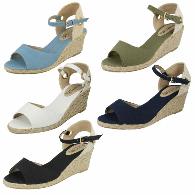 SALE LADIES ANKLE BUCKLE PEEP TOE CANVAS SUMMER WEDGE HEEL SANDALS F2247 F2260