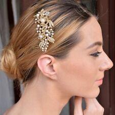 BRIDAL WEDDING HAIR COMB PEARL DIAMANTE CRYSTAL RHINESTONE GOLD CLIP SLIDE TIARA