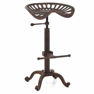 Industrial Bar Stool Swivel Tractor Metal Saddle Chair Height