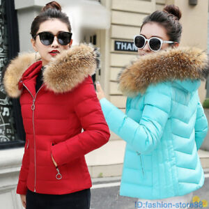 Short-winter-women-039-s-warm-jacket-down-cotton-coat-hooded-Parker-coat-jacket