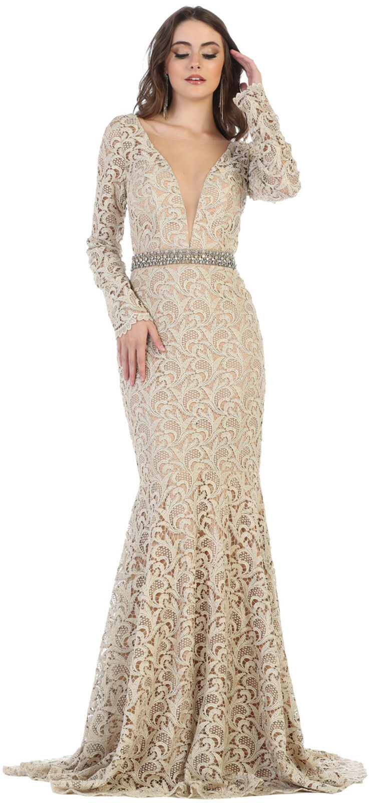 LACE EVENING GOWN LONG SLEEVE SWEET 16 SPECIAL OCCASION PROM DRESS RED CARPET