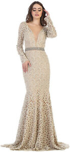 Details About Sale Lace Evening Formal Gown Long Sleeve Wedding Guest Prom Dress Plus Size