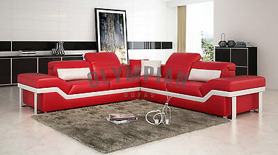 Designer Red LEATHER SOFA Corner Suite Settee New Red & White 3 Seat 2  Seater | eBay