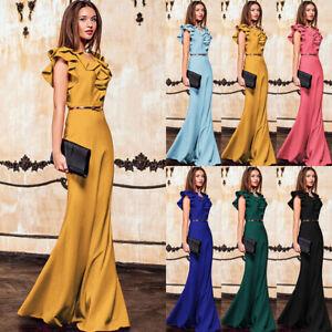 Women-Fish-Tail-High-Waist-Maxi-Dress-Ruffle-Sleeveless-Belt-Evening-Party-Dress