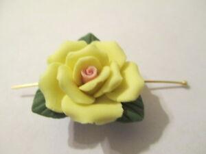 Adroit 8 Porcelaine Jaune 24mm 10 Pétale -feuilles Fleur Perles T11