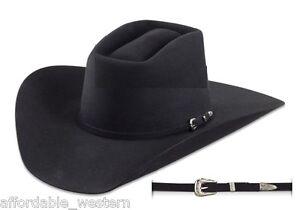 BRICK-Crown-BLACK-4X-Beaver-Fur-Felt-HAT-4-034-Brim-Rodeo-King-Cowboy-Western