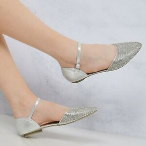 New-Ladies-Ankle-Strap-Silver-Flat-Diamante-Sandals-Size-3-8