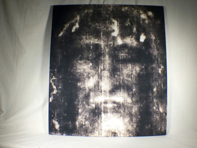 Shroud of Turin Full Size Face Negative on Linen Cloth 3 x 3 feet Wood Framed