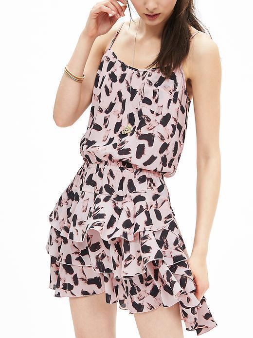 NWT Banana Republic Print Ruffle Dress, Rosa Blaush Größe SP S P
