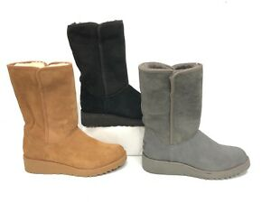 cf84852dbb27f UGG Australia AMIE Grey Chestnut Black CLASSIC SLIM SHEEPSKIN WEDGE ...