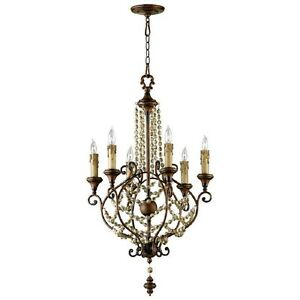 Wood beads iron country french meriel 6 light chandelier 03011 image is loading wood beads amp iron country french meriel 6 aloadofball Images