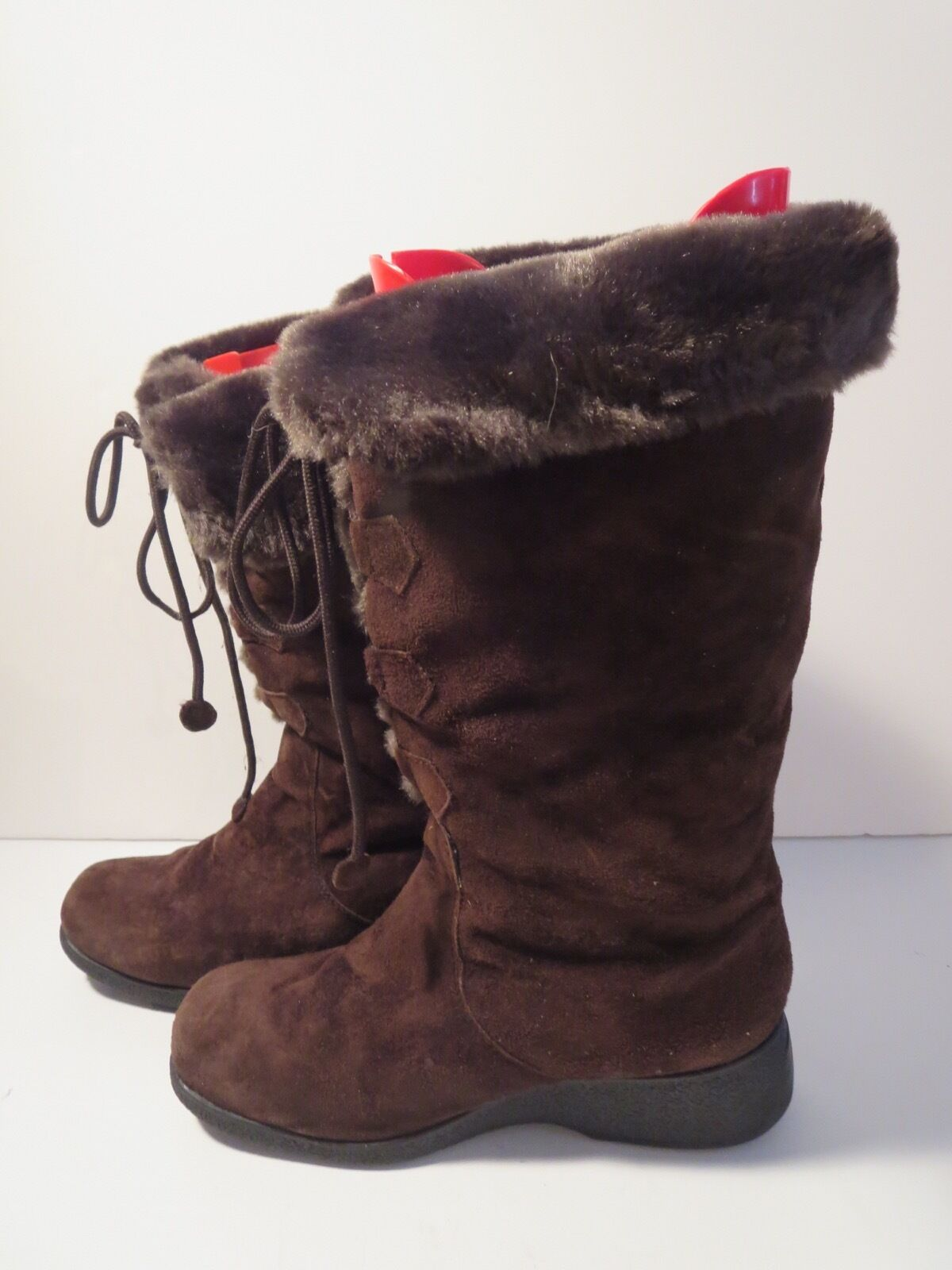 Khombu Espresso Brown Faux Fur Lined Wedge Heel Lace Up EUR 40 REDUCED