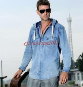 a7623d9d5a3 Details about New Men Hooded Casual Denim Jean Shirt Coat Slim Fit Jacket  Shirts Outdoor Chic